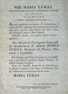Il decreto con cui Maria Luisa d'Austria italianizzò il suo nome in Maria Luigia